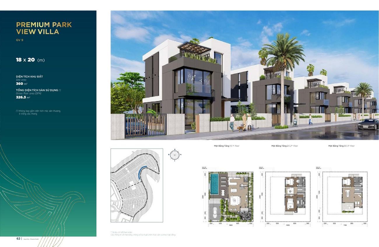 Thiết kế Premium Park View Villa (18x20 m) dự án nhà phố Aqua City The Phoenix South Biên Hòa Đồng Nai nhà phát triển NovaLand