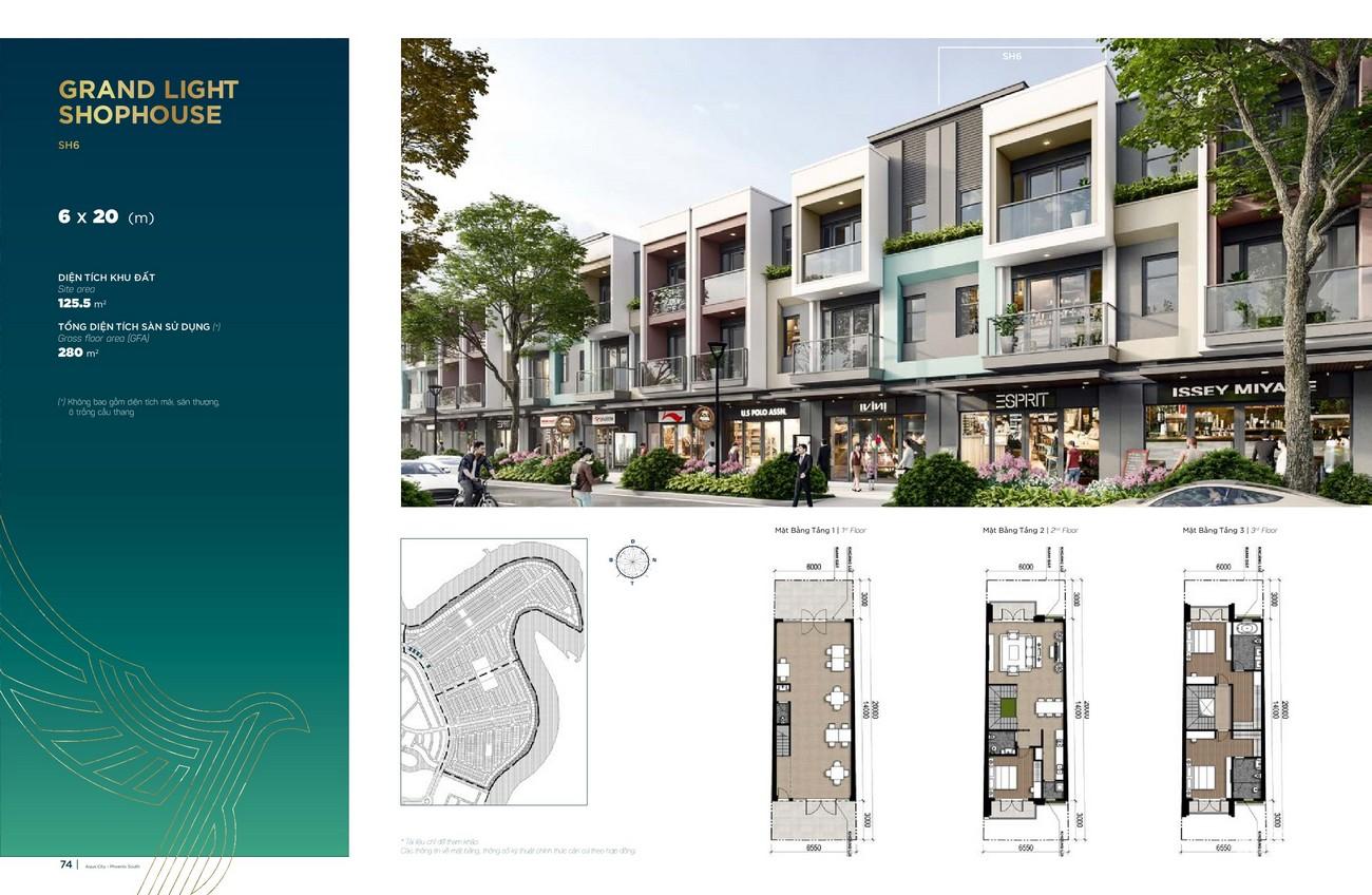 Thiết kế Grand Light Shophouse (6x20 m) dự án nhà phố Aqua City The Phoenix South Biên Hòa Đồng Nai nhà phát triển NovaLand