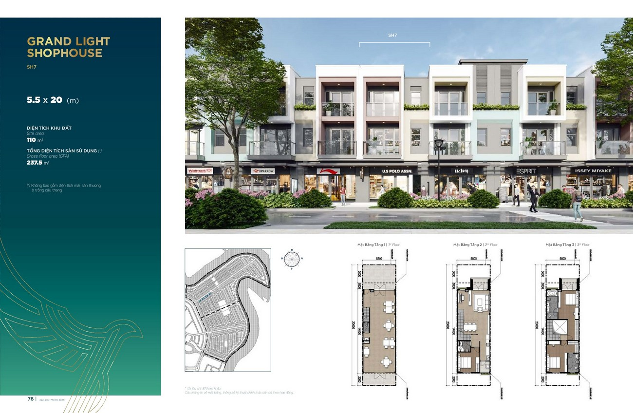 Thiết kế Grand Light Shophouse (5.5x20 m) dự án nhà phố Aqua City The Phoenix South Biên Hòa Đồng Nai nhà phát triển NovaLand