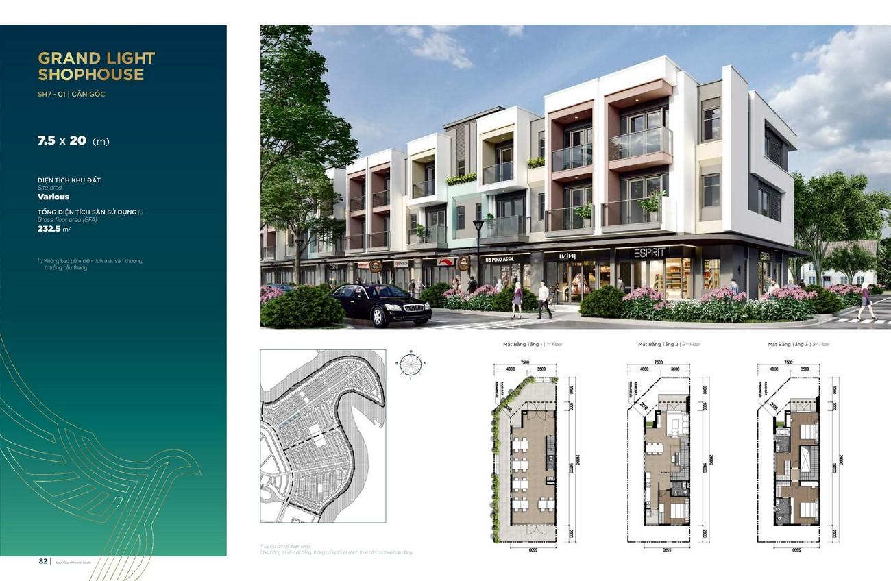 Thiết kế Grand Light Shophouse (7.5x20 m) dự án nhà phố Aqua City The Phoenix South Biên Hòa Đồng Nai nhà phát triển NovaLand