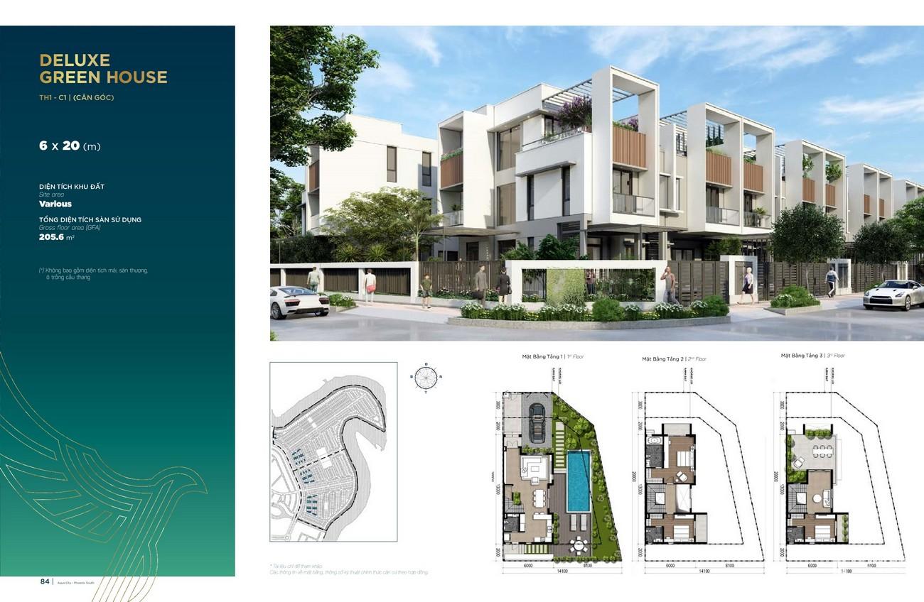 Thiết kế Deluxe Green House (6x20 m) dự án nhà phố Aqua City The Phoenix South Biên Hòa Đồng Nai nhà phát triển NovaLand