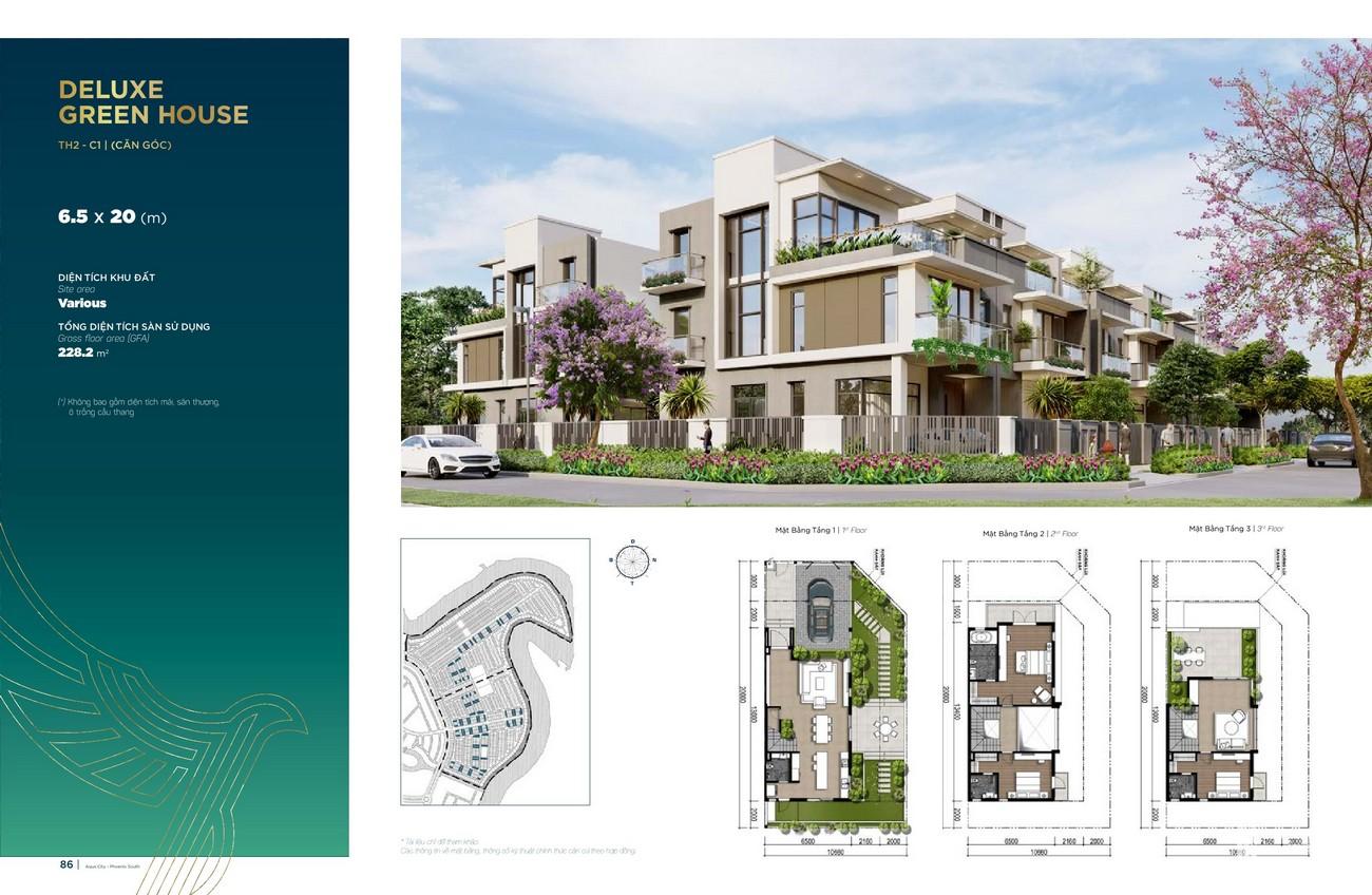Thiết kế Deluxe Green House (6.5x20 m) dự án nhà phố Aqua City The Phoenix South Biên Hòa Đồng Nai nhà phát triển NovaLand