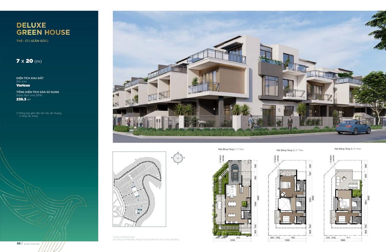 Thiết kế Deluxe Green House (7x20 m) dự án nhà phố Aqua City The Phoenix South Biên Hòa Đồng Nai nhà phát triển NovaLand