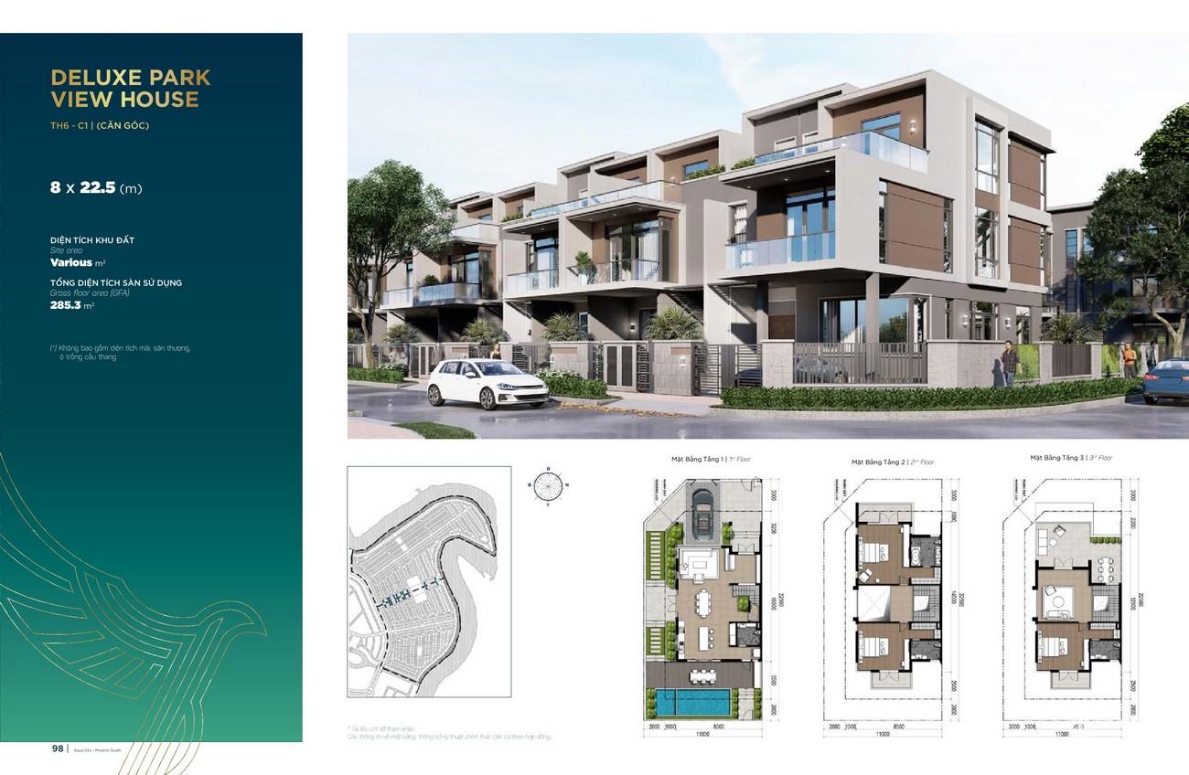 Thiết kế Deluxe Park View House (8x22.5m)dự án nhà phố Aqua City The Phoenix South Biên Hòa Đồng Nai nhà phát triển NovaLand