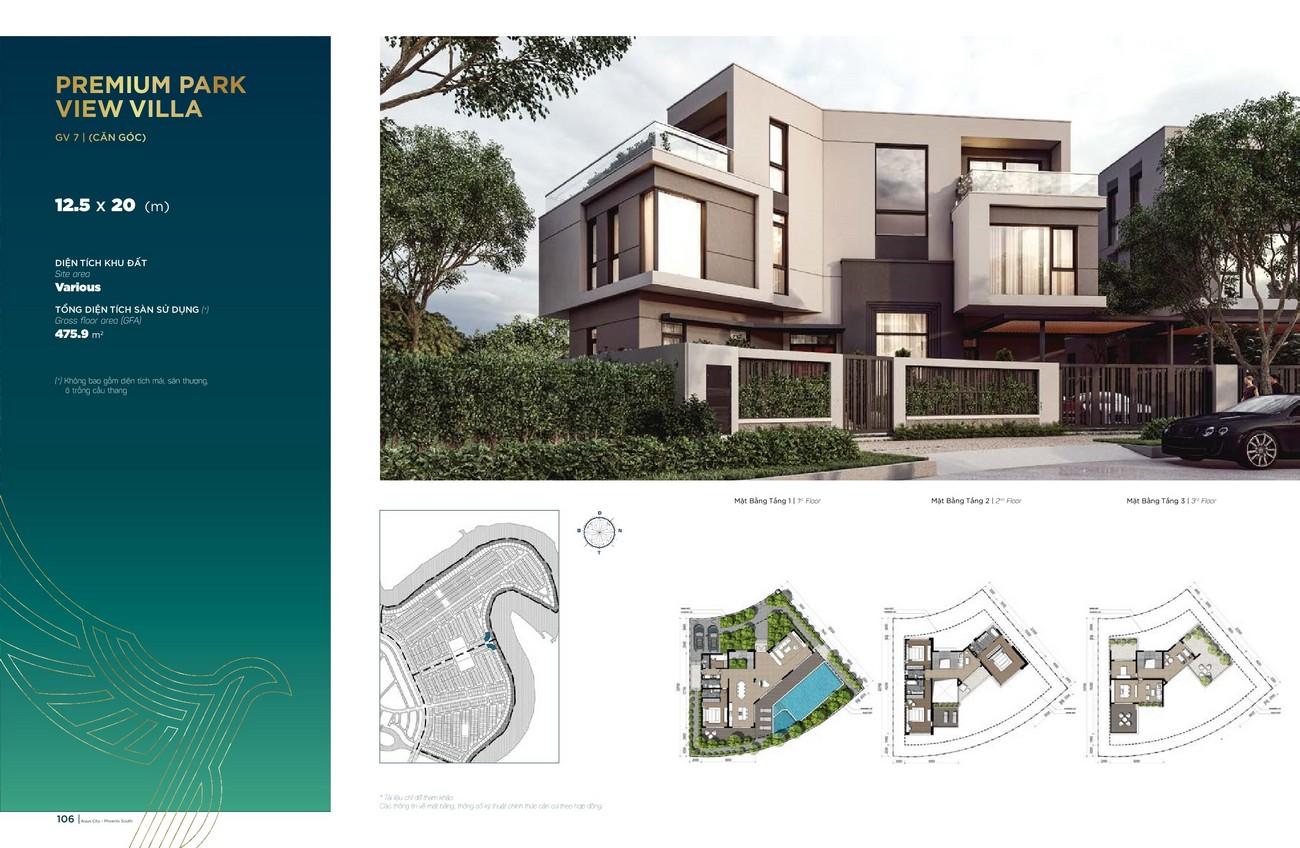 Thiết kế Premium Park View Villa (12.5x20 m) dự án nhà phố Aqua City The Phoenix South Biên Hòa Đồng Nai nhà phát triển NovaLand