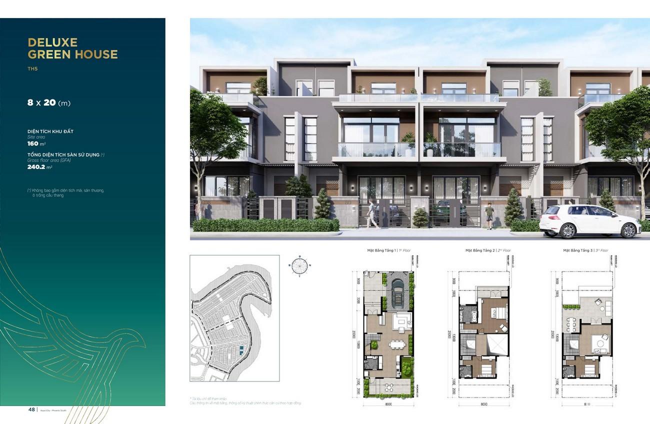 Thiết kế Deluxe Green House (8x20 m) dự án nhà phố Aqua City The Phoenix South Biên Hòa Đồng Nai nhà phát triển NovaLand