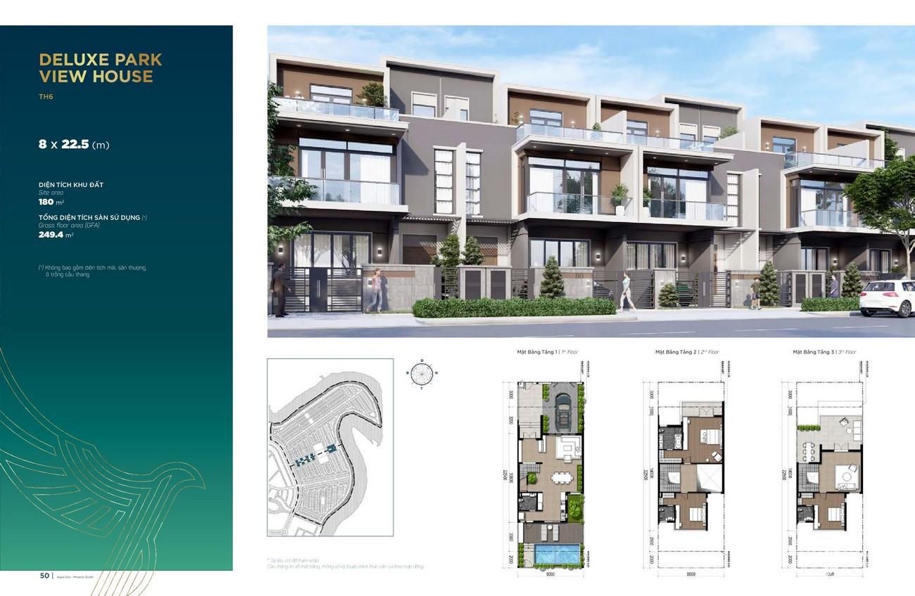 Thiết kế Deluxe Park View House (8x22.5 m)dự án nhà phố Aqua City The Phoenix South Biên Hòa Đồng Nai nhà phát triển NovaLand