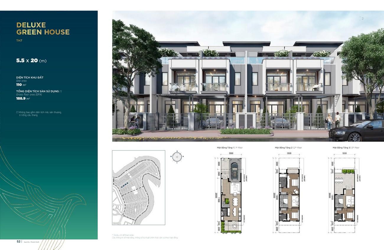 Thiết kế Deluxe Green House (5.5x20 m)dự án nhà phố Aqua City The Phoenix South Biên Hòa Đồng Nai nhà phát triển NovaLand