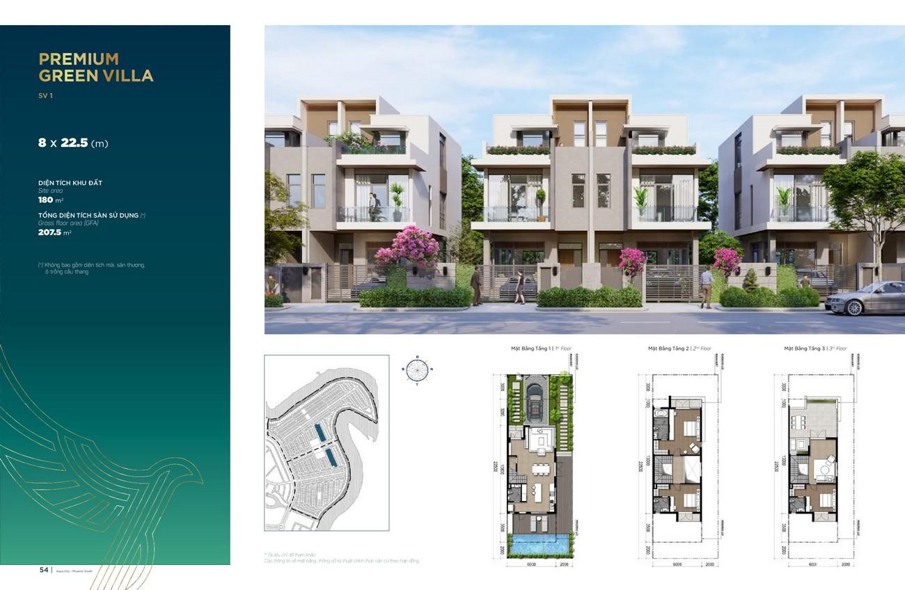 Thiết kế Premium Green Villa (8x22.5 m) dự án nhà phố Aqua City The Phoenix South Biên Hòa Đồng Nai nhà phát triển NovaLand