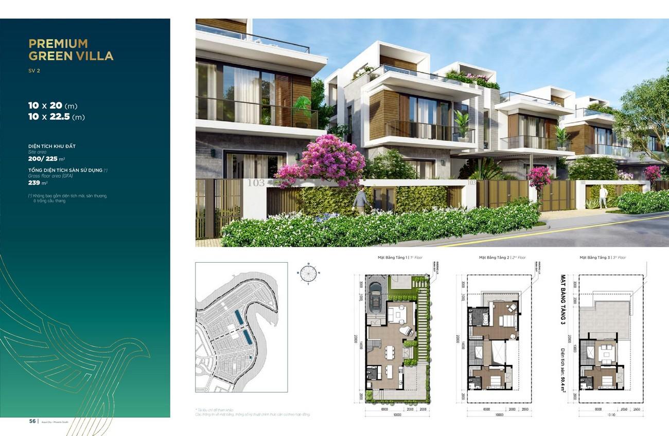 Thiết kế Premium Green Villa (10x20 m; 10x22.5 m) dự án nhà phố Aqua City The Phoenix South Biên Hòa Đồng Nai nhà phát triển NovaLand