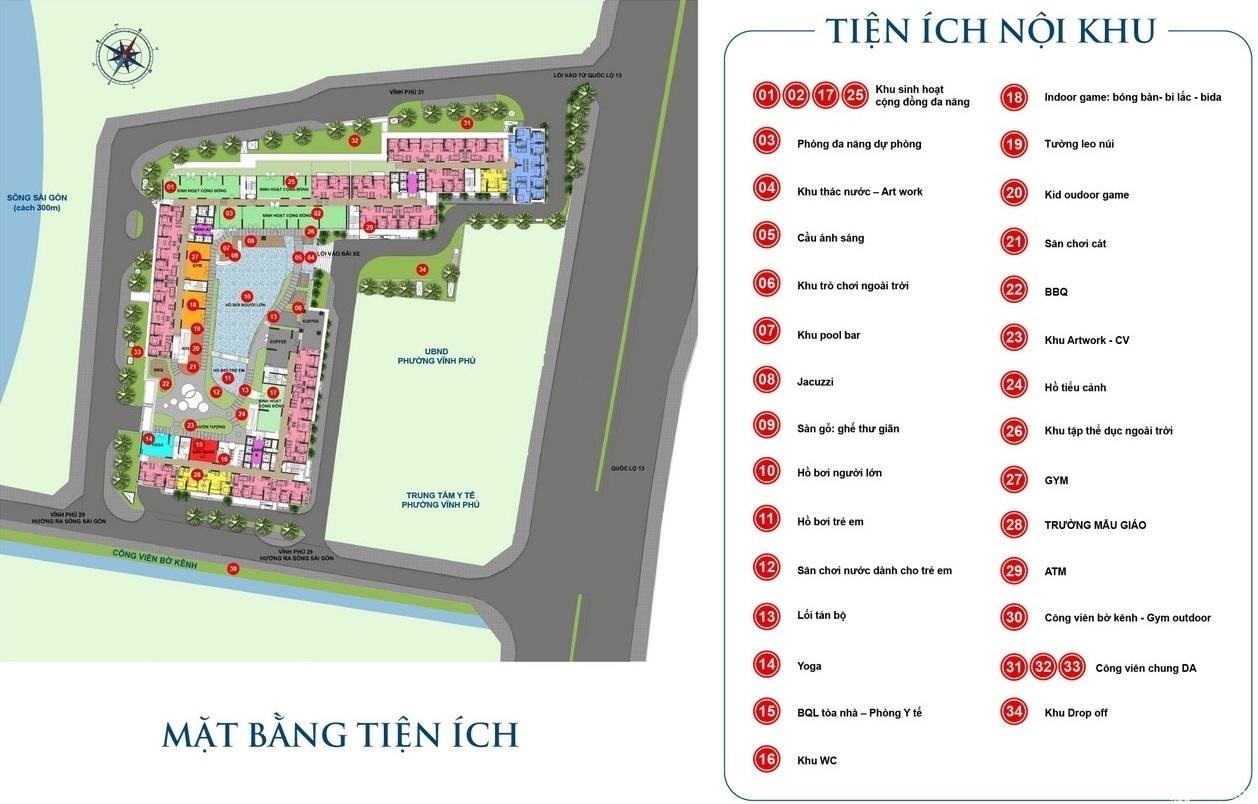 Mặt bằng tiện ích dự án căn hộ chung cư Rivana Thuận An Đường Quốc lộ 13 chủ đầu tư Đạt Phước