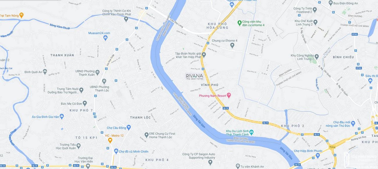Vị trí địa chỉ dự án căn hộ chung cư The Rivana Thuận An Đường Quốc lộ 13 chủ đầu tư Đạt Phước
