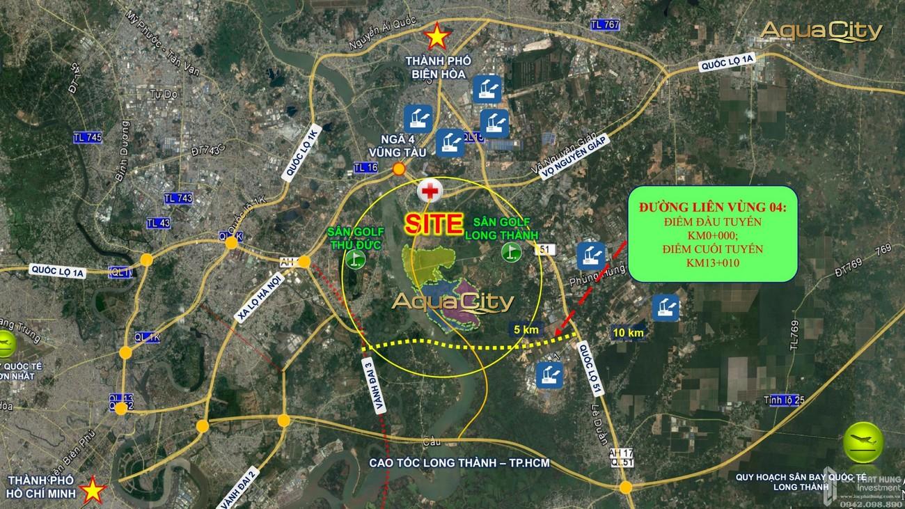 Vị trí địa chỉ dự án Aqua City The Elite nhà phố Biên Hòa Đường Long Hưng chủ đầu tư Novaland