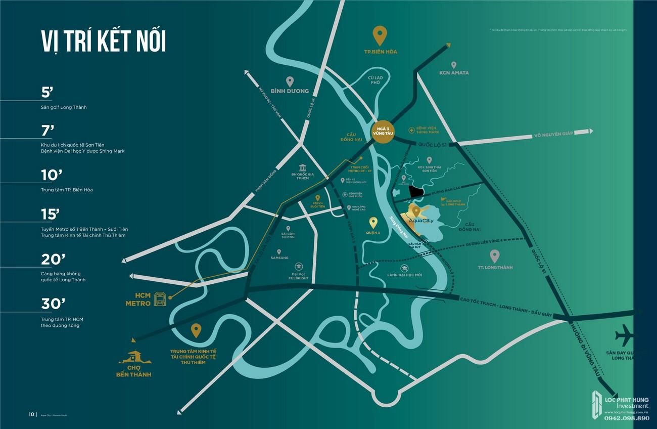 Vị trí địa chỉ dự án nhà phố Aqua City The Phoenix South Biên Hòa Đồng Nai nhà phát triển NovaLand