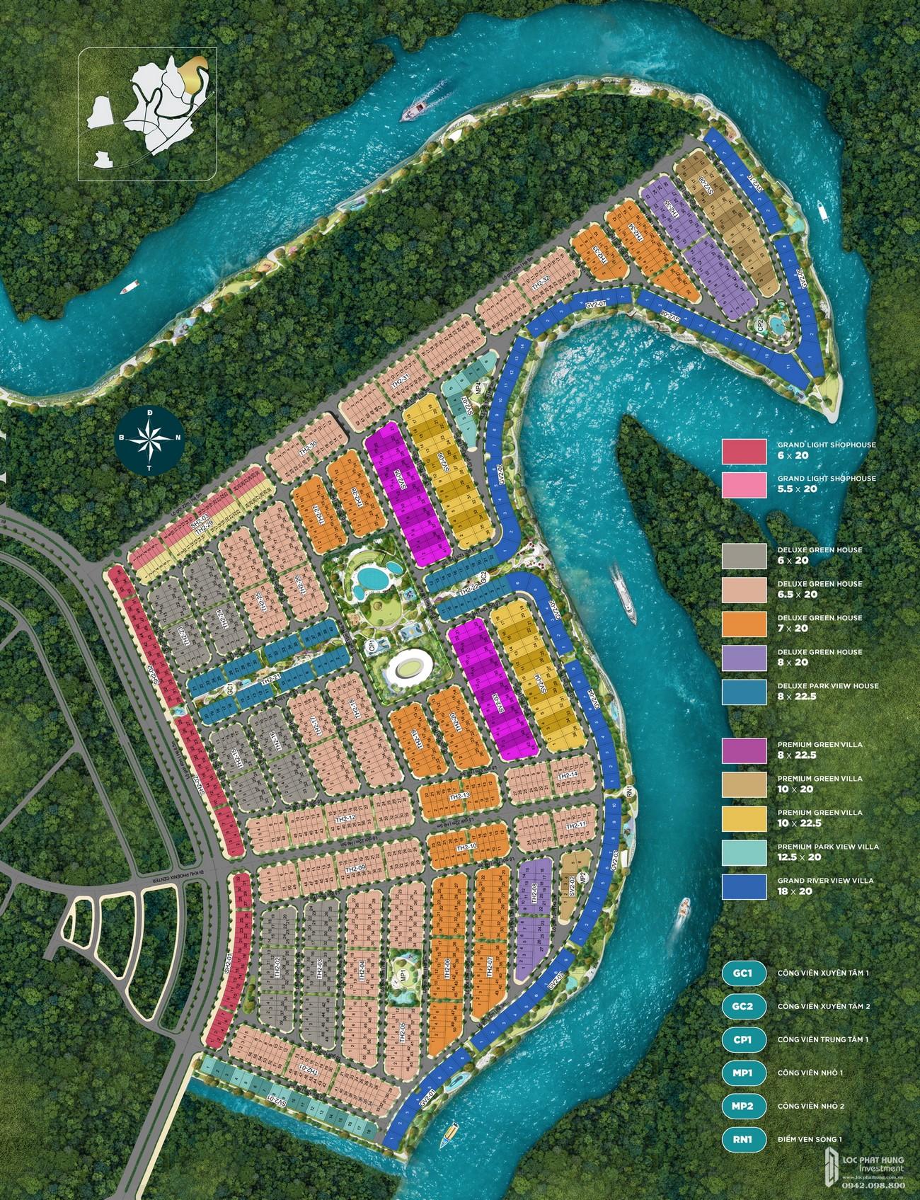 Mặt bằng tổng thể dự án Aqua City The Phoenix South nhà phát triển Novaland