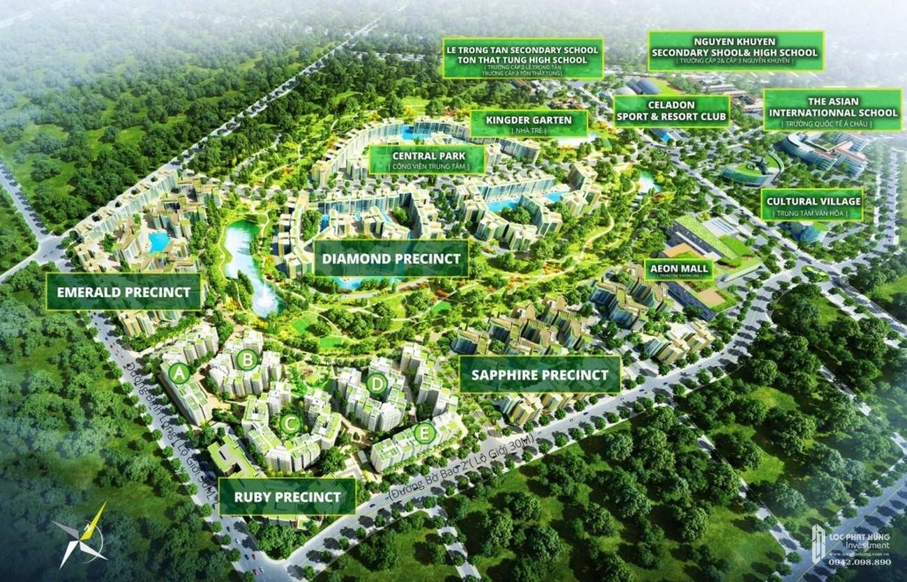 Phối cảnh từ trên cao nhìn xuống của dự án Celadon City quận Tân Phú