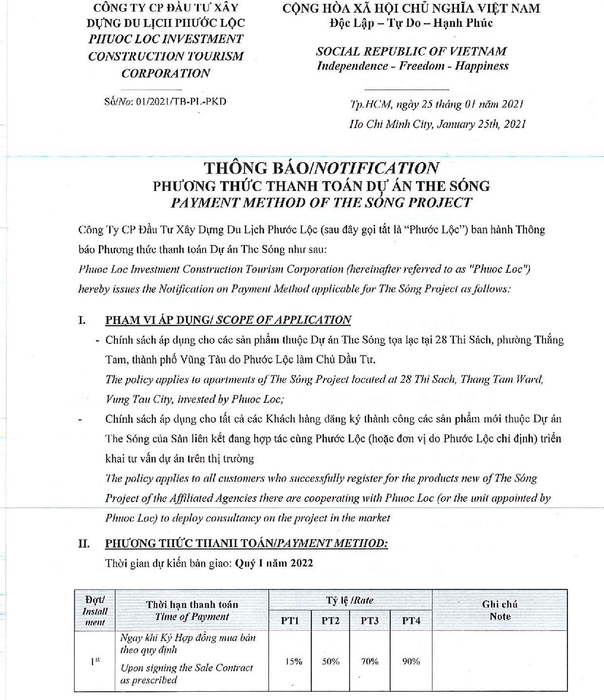 Phương thức thanh toán  The Sóng Vũng Tàu - Áp dụng từ 02.2021-30.06.2021