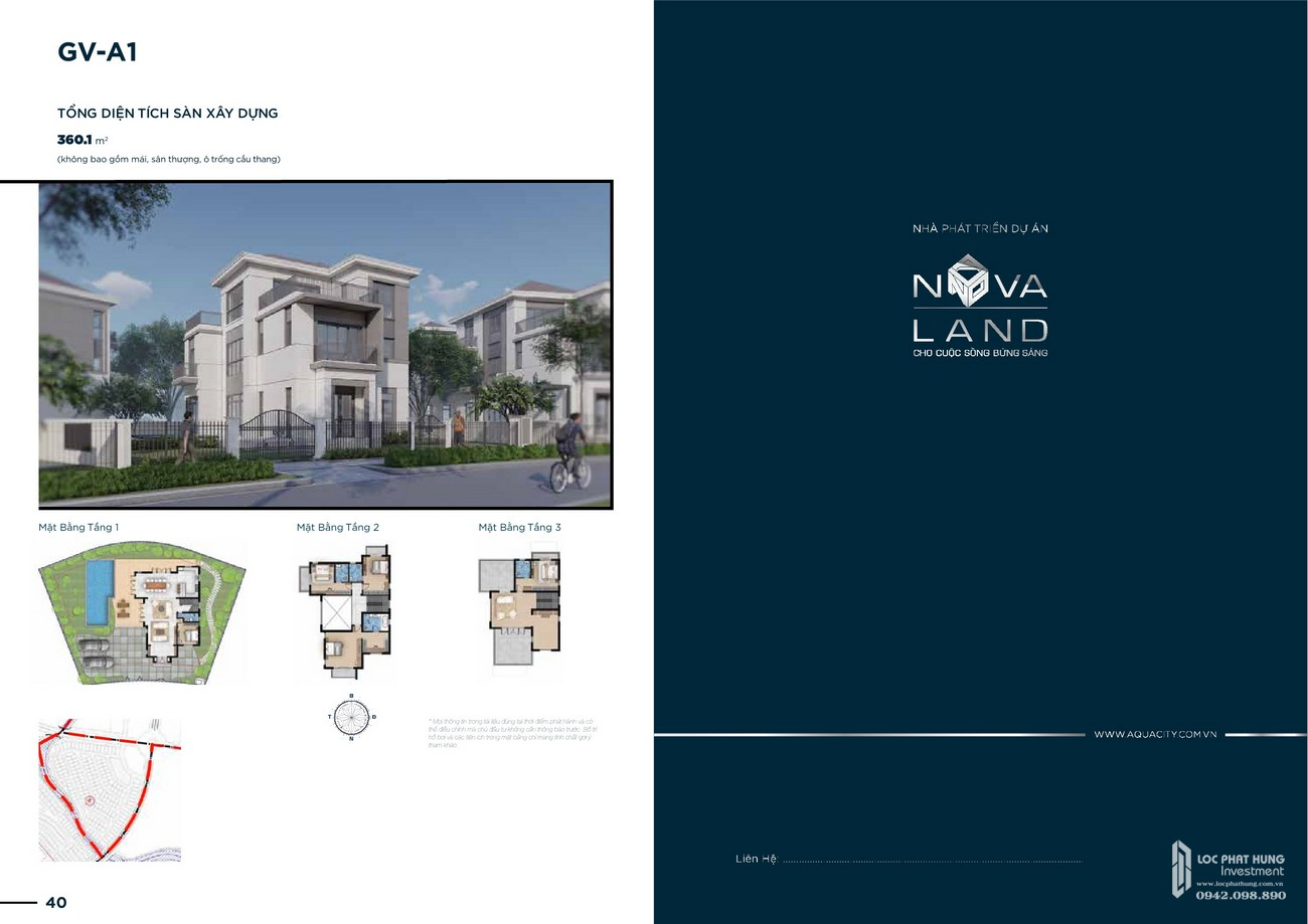 Thiết kế dự án biệt thự Aqua City The Grand Villas Biên Hòa Đường Long Hưng nhà phát triển Novaland