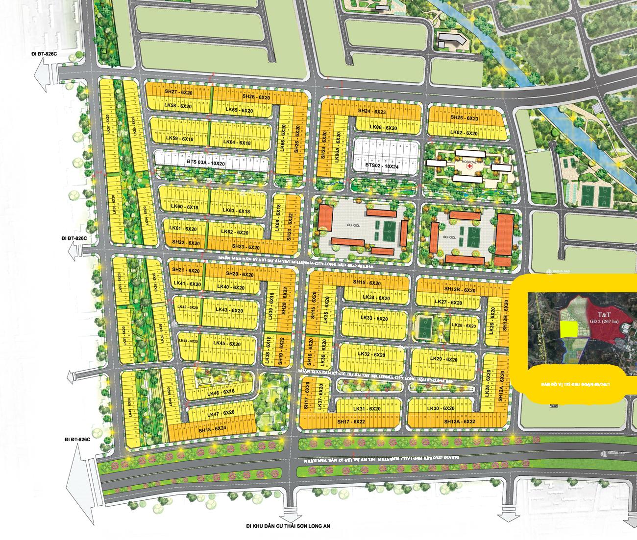 Bản đô mặt bằng T&T Millennia City Long Hậu