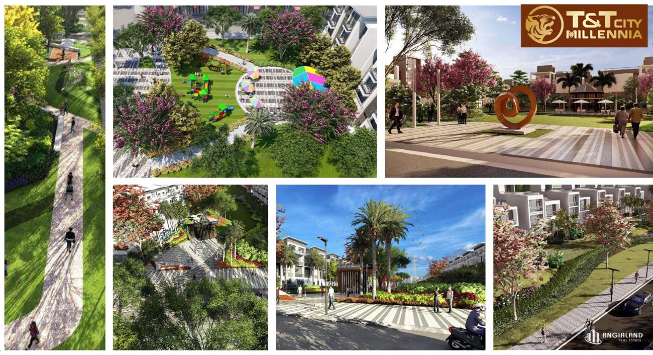 Tiện ích cảnh quan nội khu dự án T&T Millennia City Long Hậu