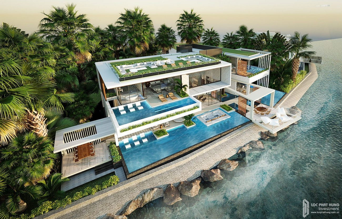 Thiết kế mẫu biệt thự đơn lập trực diện biển và có hồ bơi riêng tại Vega City Nha Trang