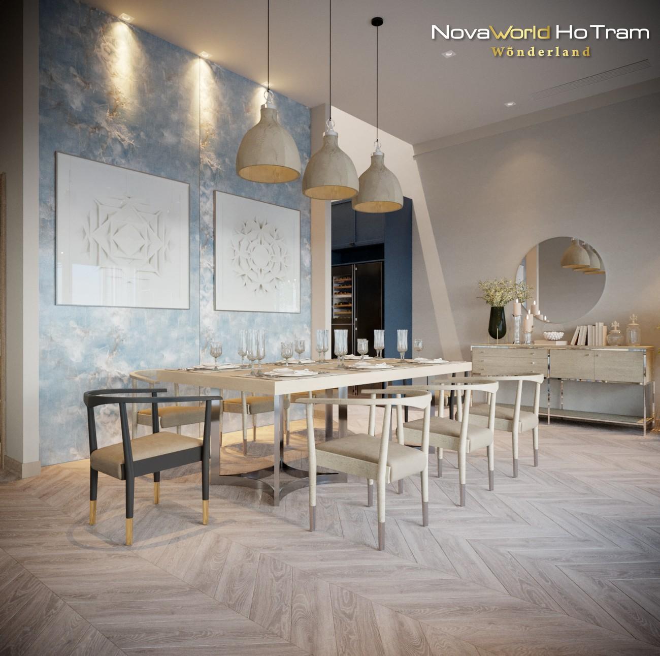 Nội thất phòng ăn thiết kế biệt thự dự án nhà phố, biệt thự Habana Island Novaworld Hồ Tràm Bà Rịa Vũng Tàu