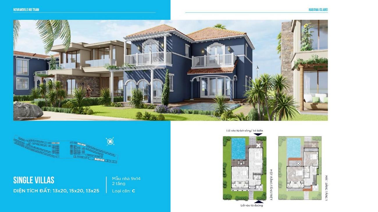 Thiết kế biệt thự đơn lập Single Villas loại căn C Habana Island Novaworld Hồ Tràm