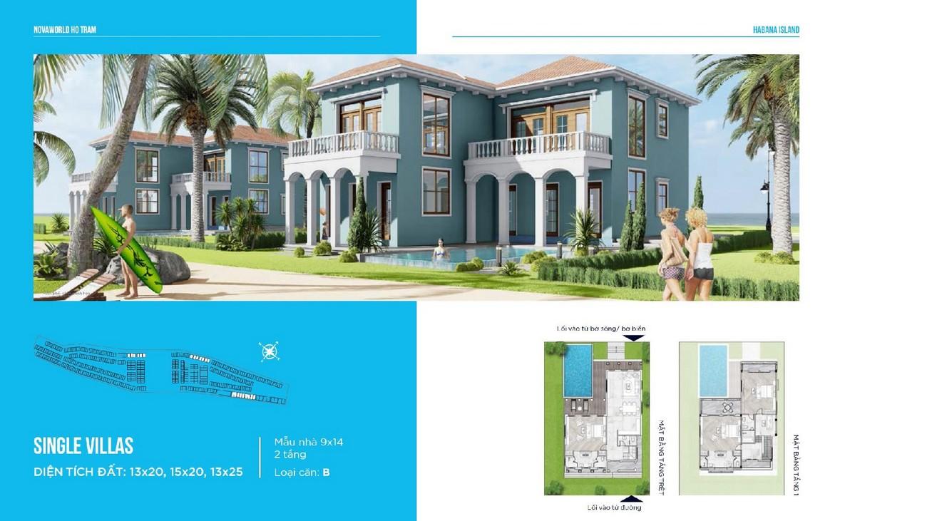 Thiết kế biệt thự đơn lập Single Villas loại căn B Habana Island Novaworld Hồ Tràm