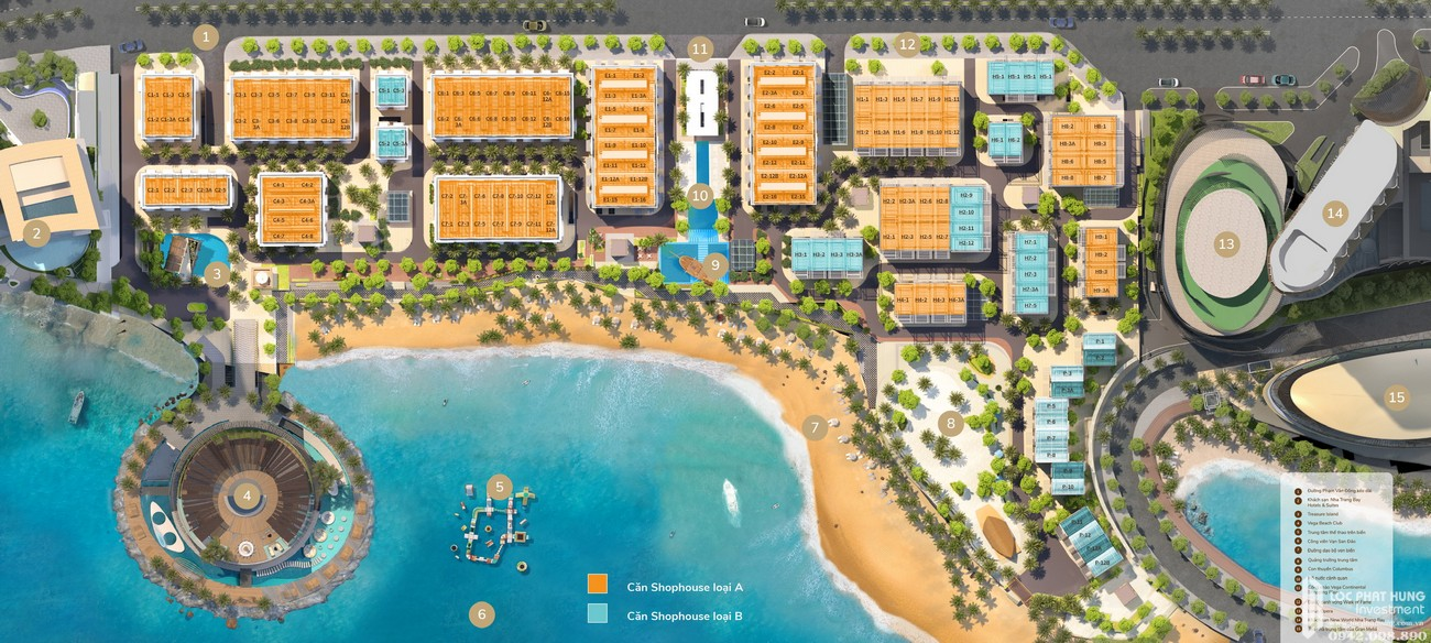 Mặt bằng dự án Biệt thự, nhà phố Vega City Bãi Tiên Nha Trang chủ đầu tư KDI Holdings