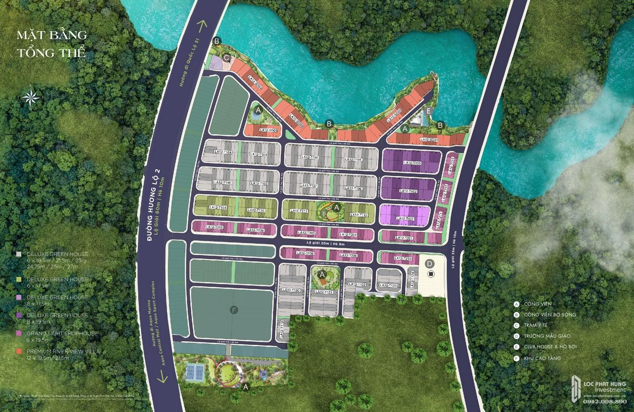 Mặt bằng dự án nhà phố Aqua City The River Park 1 TP. Biên Hòa Đường Ngô Quyền nhà phát triển Novaland