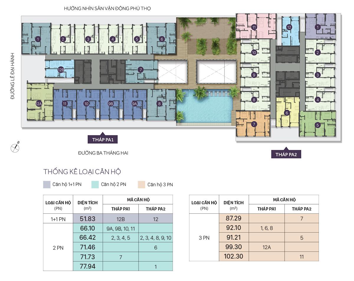 Mặt bằng dự án căn hộ chung cư The Park Avenue Quận 11 Đường Lê Đại Hành chủ đầu tư Novaland