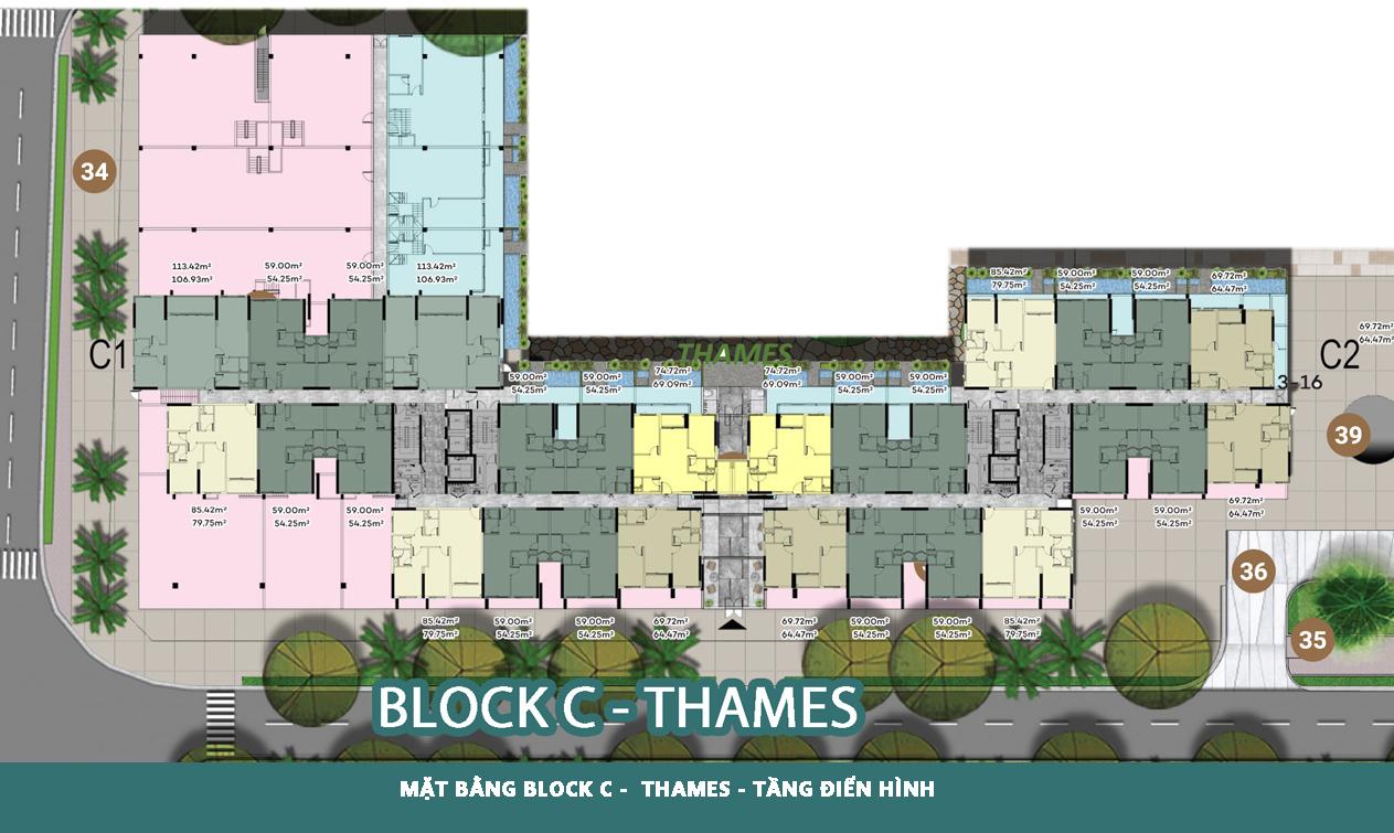 Mặt bằng Block C - Thames tầng điển hình