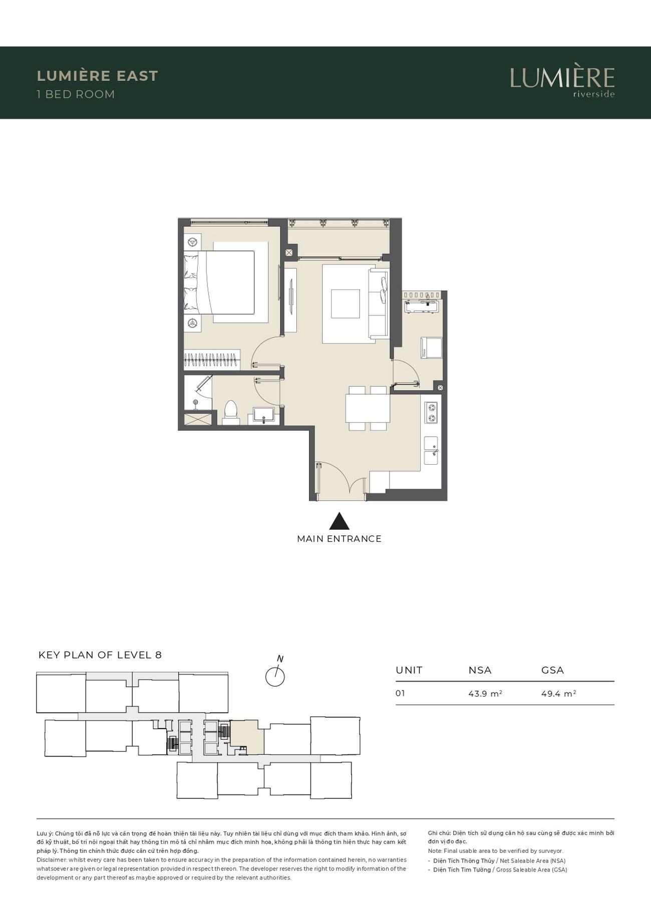 Thiết kế Masteri Lumière Riverside Quận 2 : Căn hộ 2 phòng ngủ tòa Lumiere East
