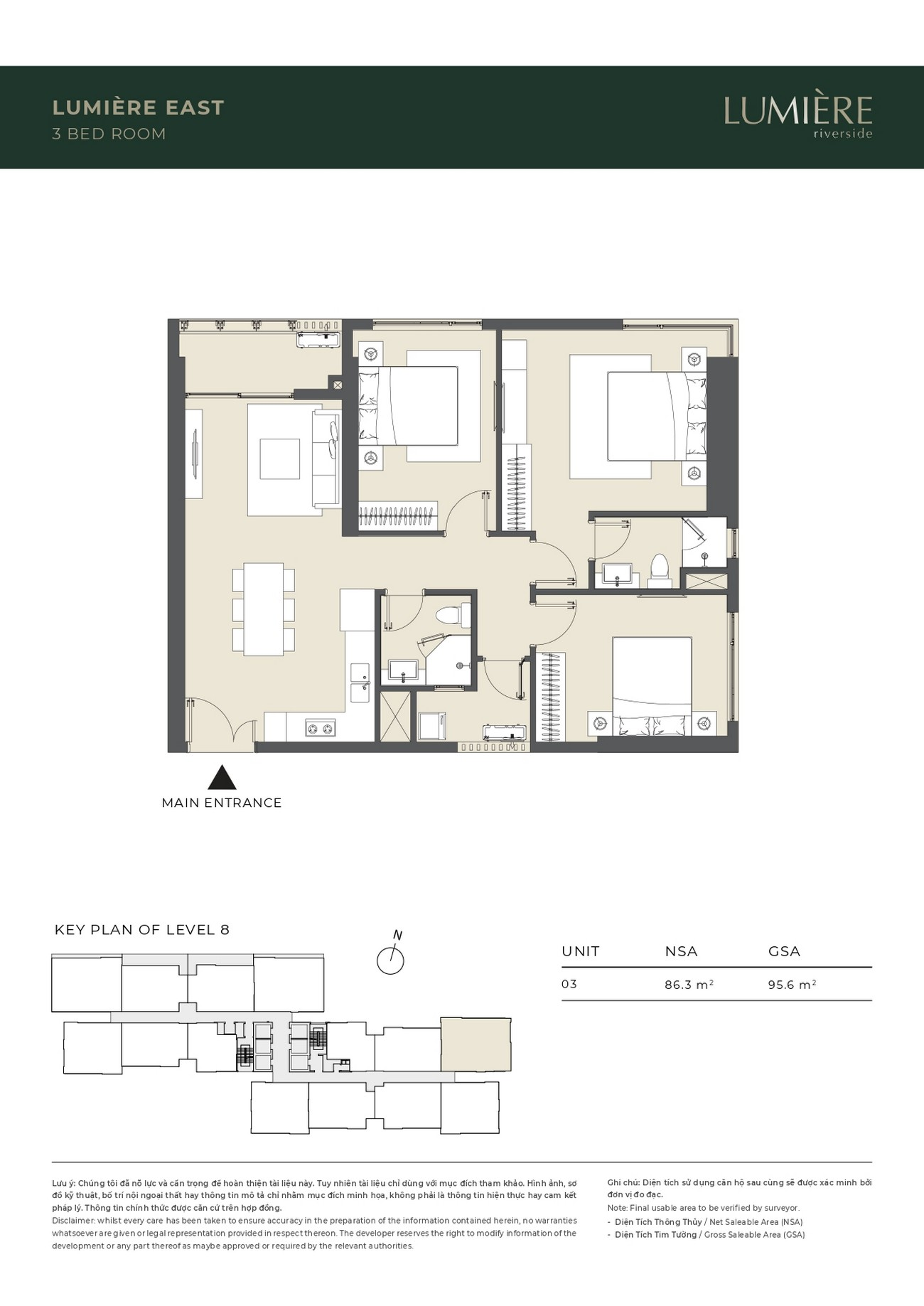 Thiết kế Masteri Lumière Riverside Quận 2 : Căn hộ 3 phòng ngủ