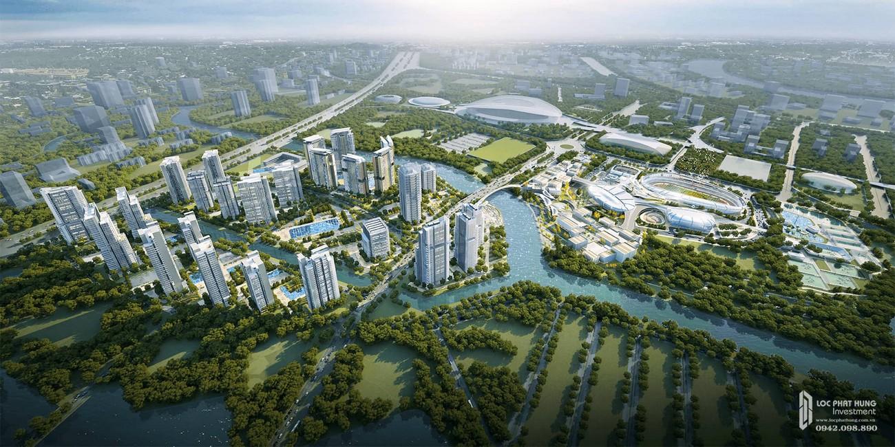Phối cảnh tổng thể dự án căn hộ chung cư Saigon Sports City Quận 2 Đường An Phú chủ đầu tư Keppel Land