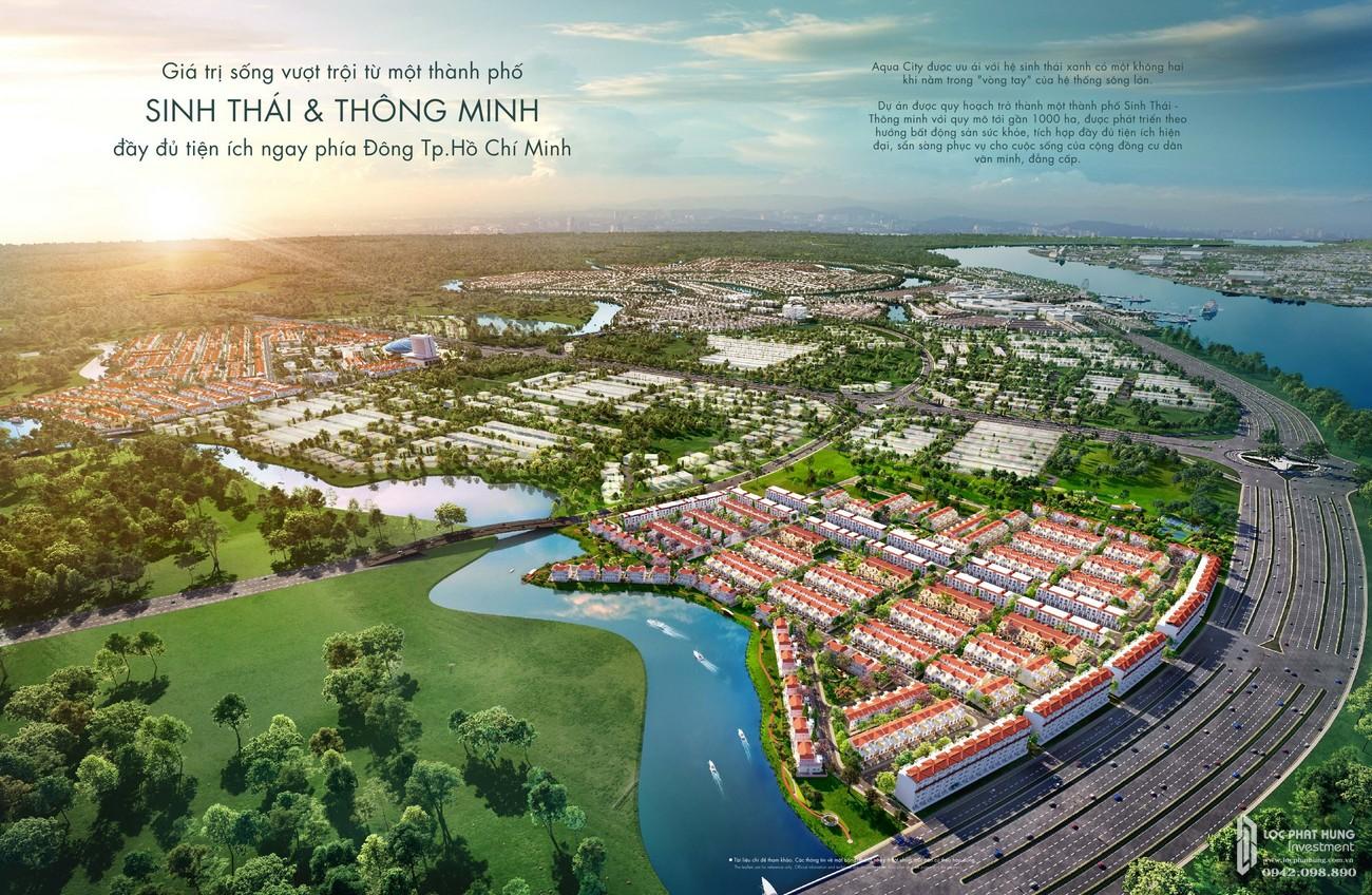 Phối cảnh tổng thể dự án nhà phố Aqua City The River Park 1 TP. Biên Hòa Đường Ngô Quyền nhà phát triển Novaland