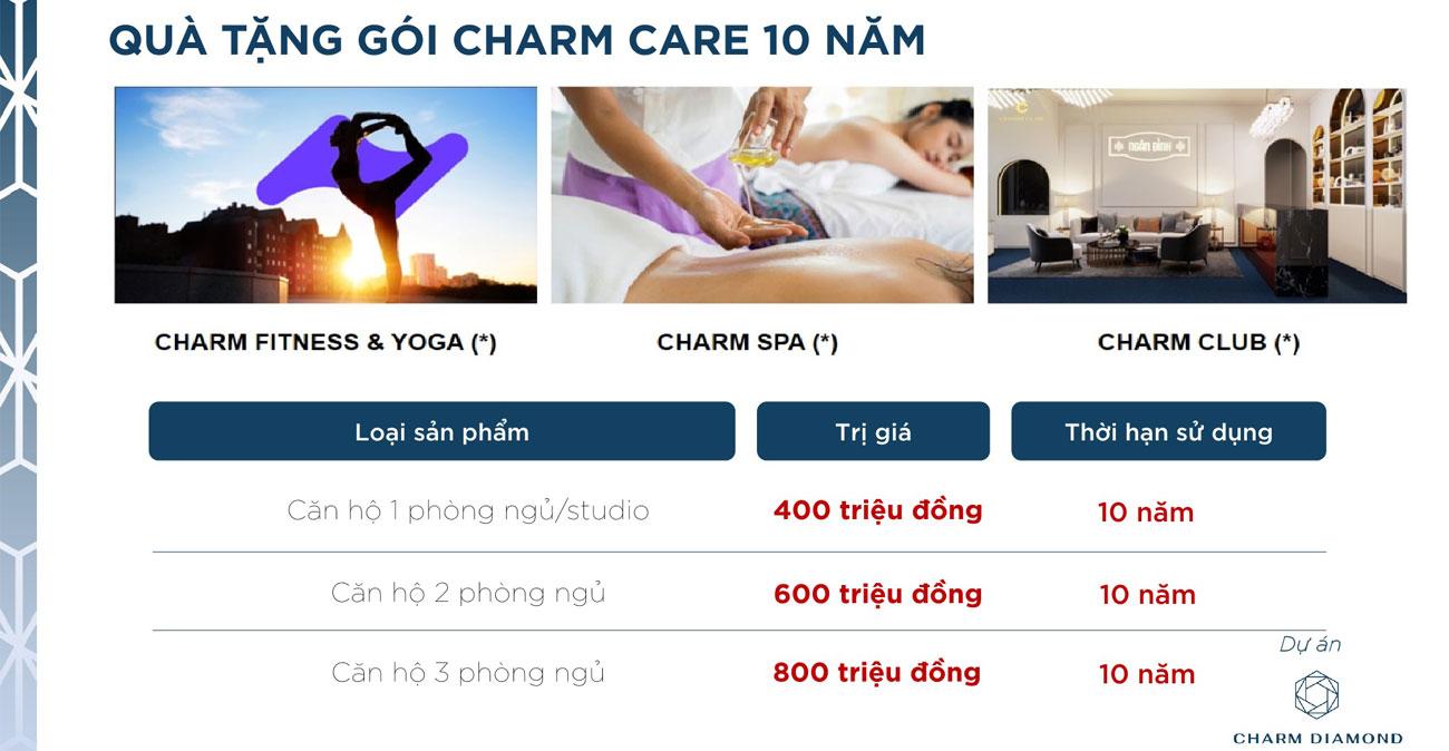 Quà tặng gói Charm Care 10 năm dành cho khách hàng mua Charm Diamond