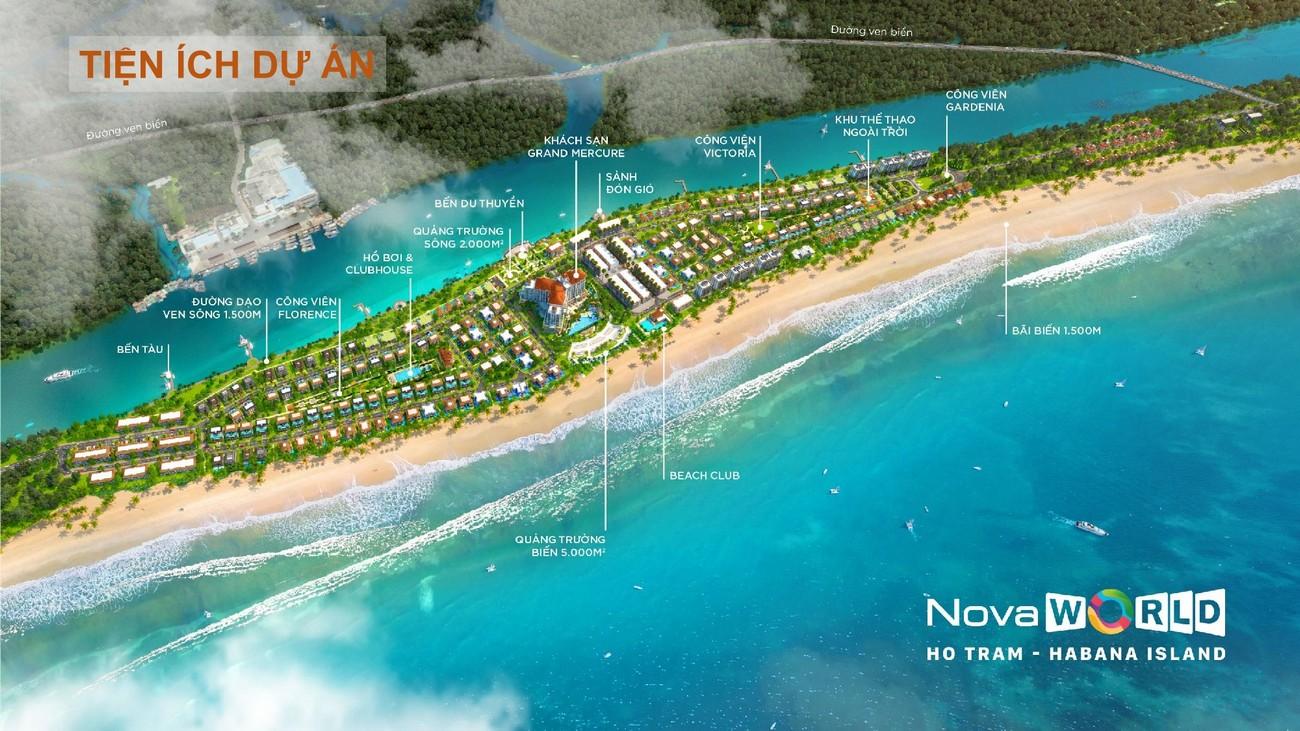 Sơ đồ bố trí các phân khu tiện ích nội khu ự án Habana Island Novaworld Hồ Tràm