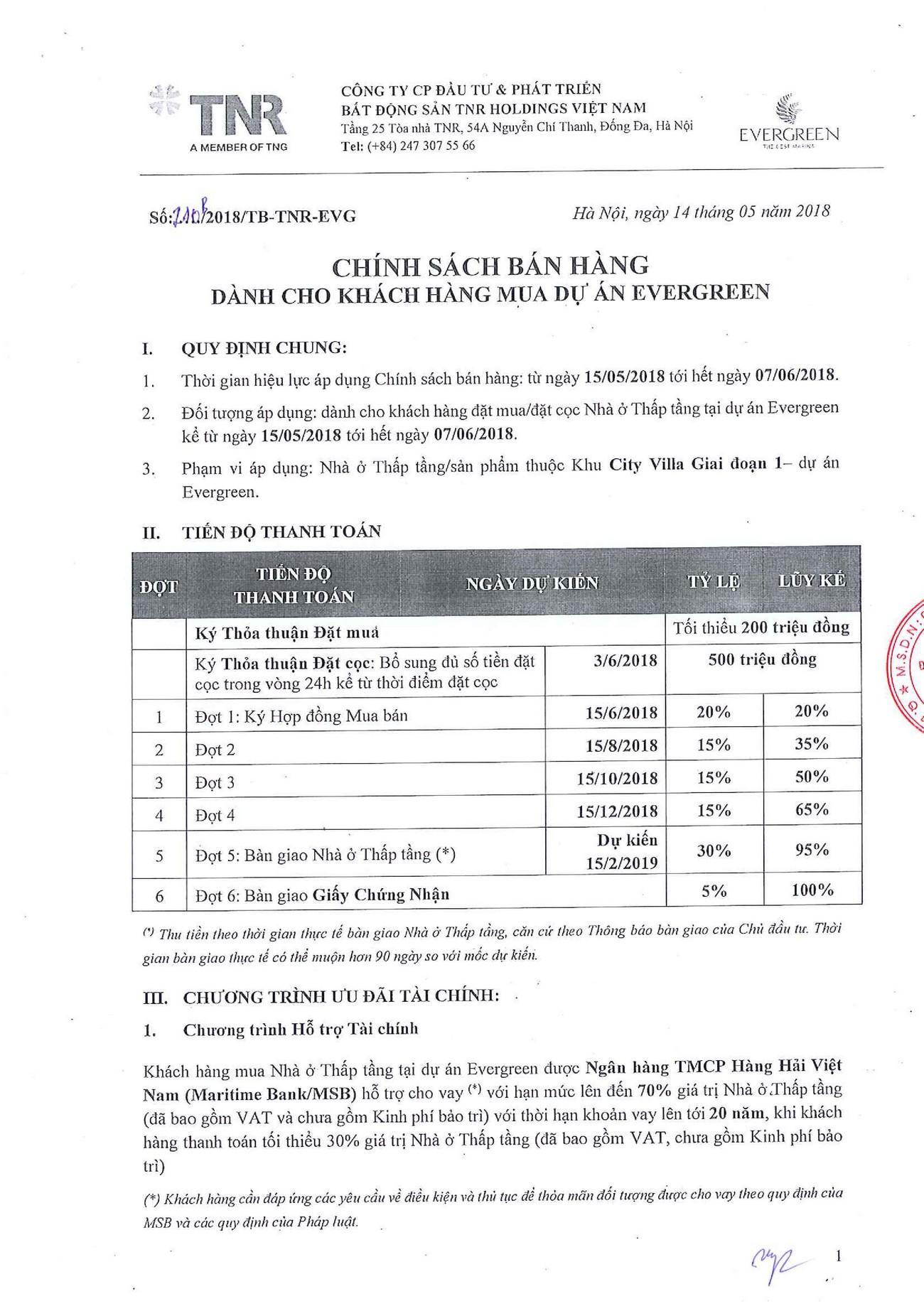 Phương thức thanh toán dự án biệt thự chung cư TNR Evergreen Quận 7 Đường Nguyễn Lương Bằng chủ đầu tư TNR Holding