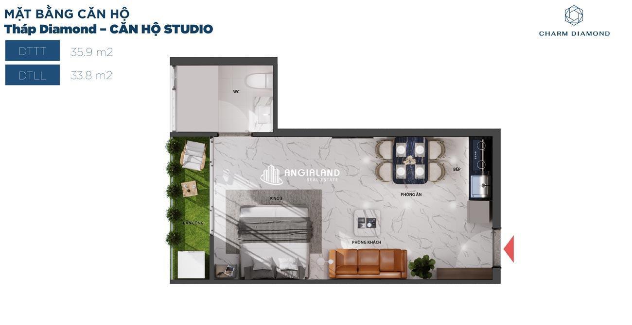 Thiết kế chi tiết căn hộ 36m² Charm Diamond dự án Charm City