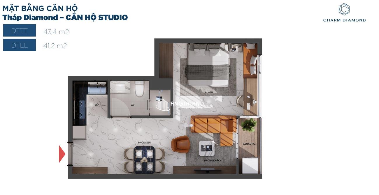 Thiết kế chi tiết căn hộ 43m² Charm Diamond dự án Charm City