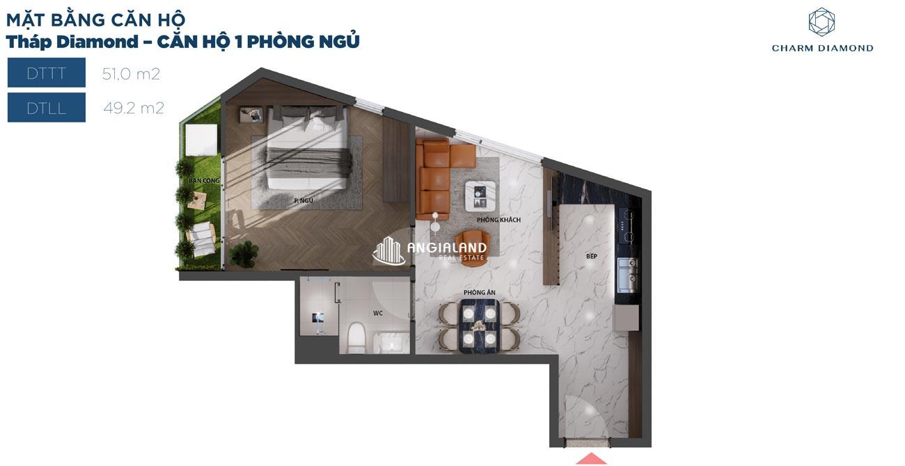 Thiết kế chi tiết căn hộ 51m² Charm Diamond dự án Charm City