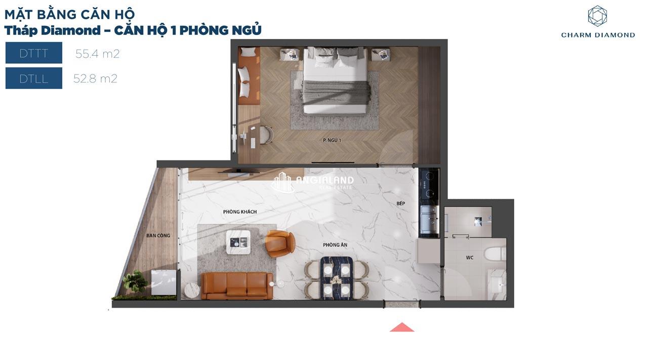 Thiết kế chi tiết căn hộ 55m² Charm Diamond dự án Charm City
