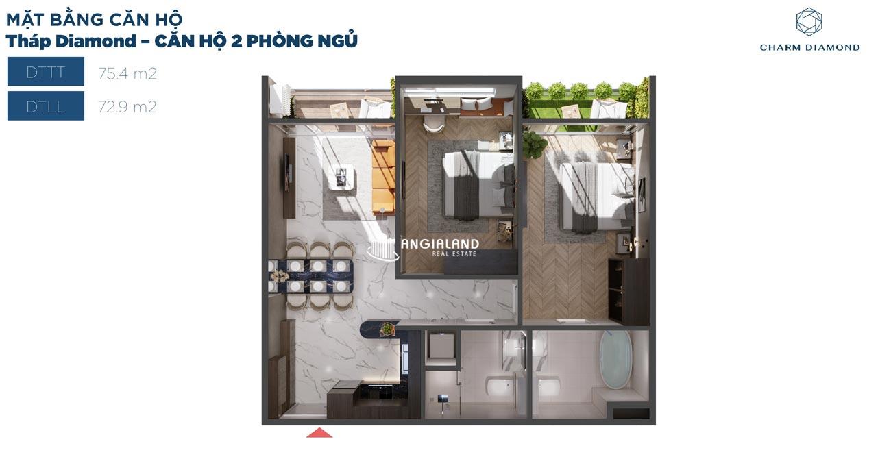Thiết kế chi tiết căn hộ 75m² Charm Diamond dự án Charm City