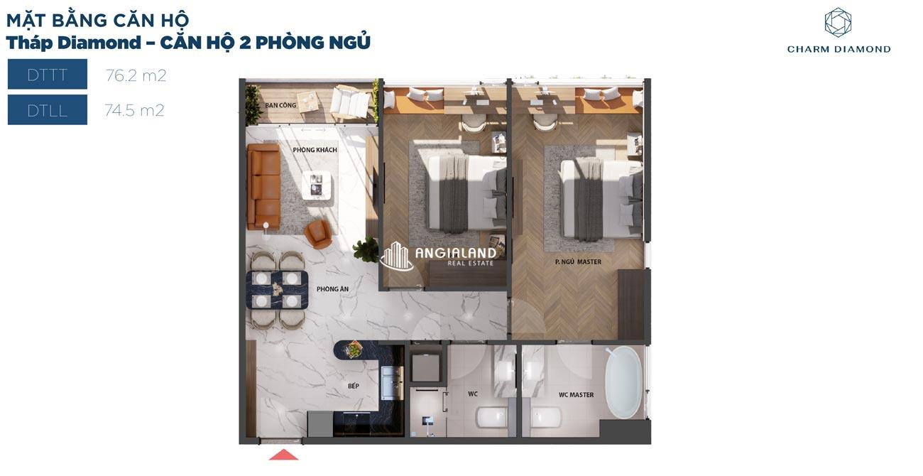 Thiết kế chi tiết căn hộ 76m² Charm Diamond dự án Charm City