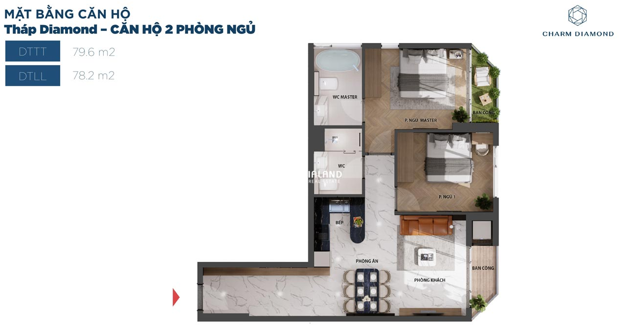 Thiết kế chi tiết căn hộ 80m² Charm Diamond dự án Charm City
