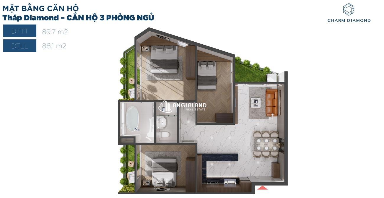 Thiết kế chi tiết căn hộ 90m² Charm Diamond dự án Charm City