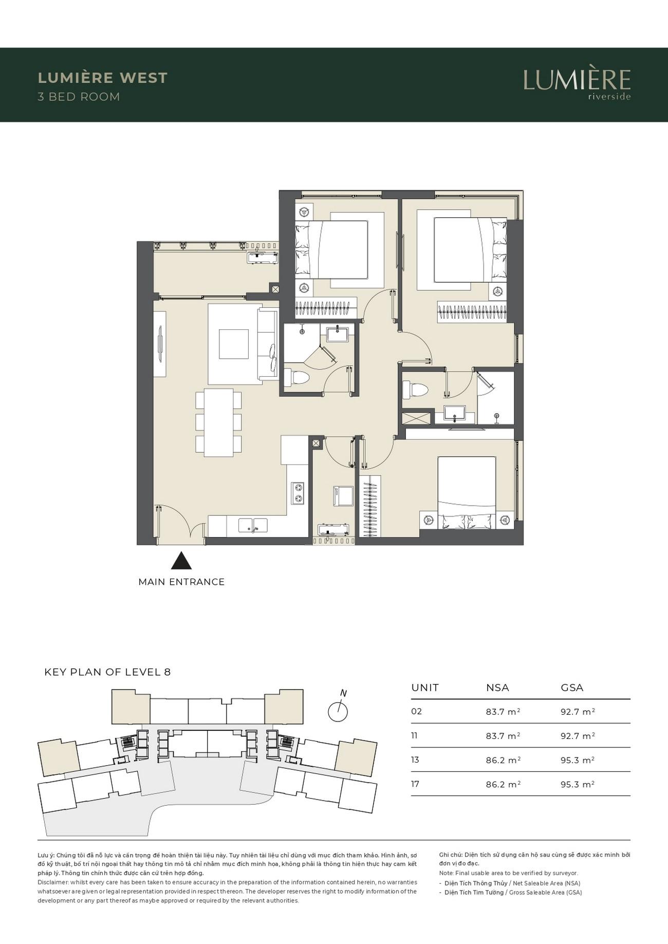 Thiết kế Masteri Lumiere Riverside: Căn hộ 3 phòng ngủ – 0942.098.890