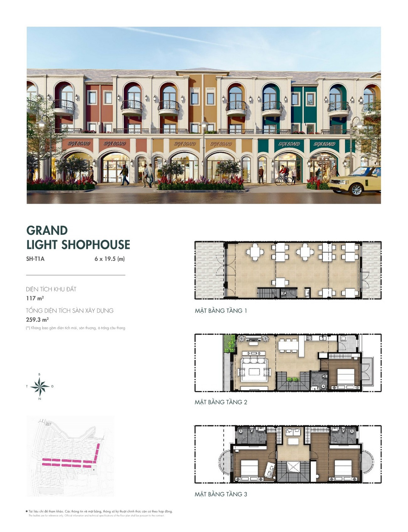 Thiết kế Grand Light Shophouse (6x19,5 m) dự án nhà phố Aqua City The River Park 1 TP. Biên Hòa Đường Ngô Quyền nhà phát triển Novaland