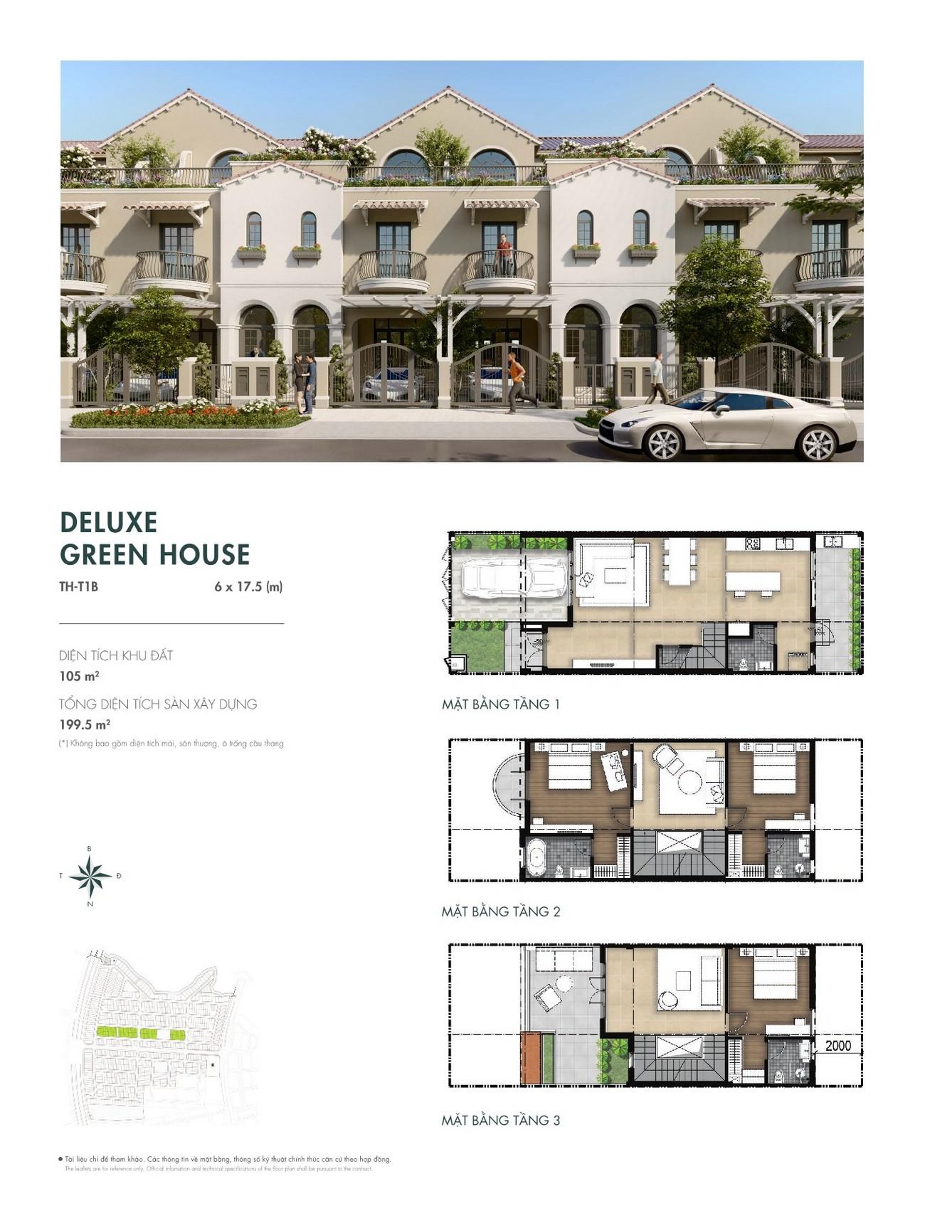 Thiết kế Deluxe Green House (6x17,5 m) dự án nhà phố Aqua City The River Park 1 TP. Biên Hòa Đường Ngô Quyền nhà phát triển Novaland